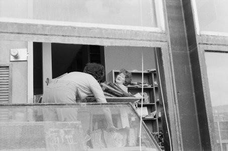 [Jane Lanahan and Priscilla Price cleaning flood debris from museum office] [picture].