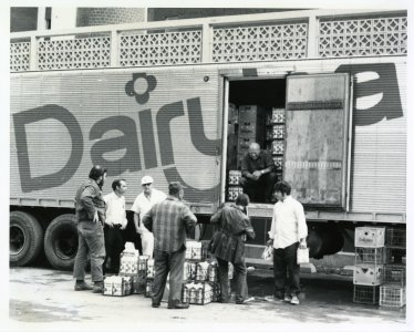 [Dairylea truck dropping off supplies at the Corning Hospital after flood] [picture].