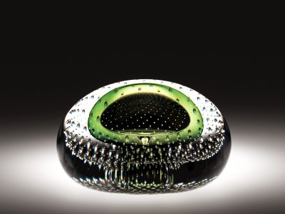 Paperweight with Green Bubble