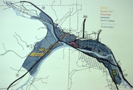 [Map of the flooded areas in Erwin, Painted Post, Riverside, Corning and South Corning] [slide].