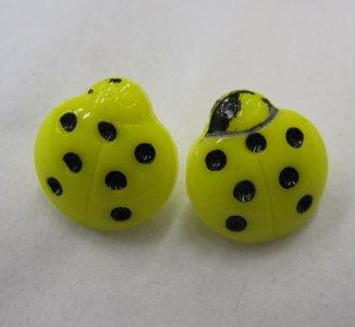 2 Yellow Ladybug Buttons