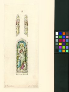 [Ink and watercolor design for stained glass window with Christ receiving children] [art original].