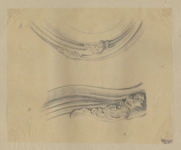 [Design drawing for two decorative components for furniture pieces] [art original].