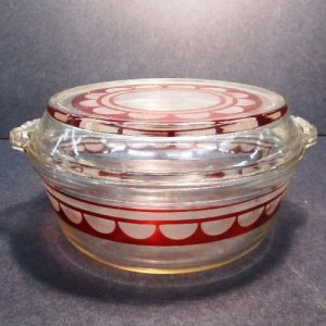Etched Pyrex Casserole with Lid