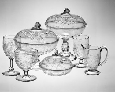 8 Piece Glassware Set in Floral Ware Pattern