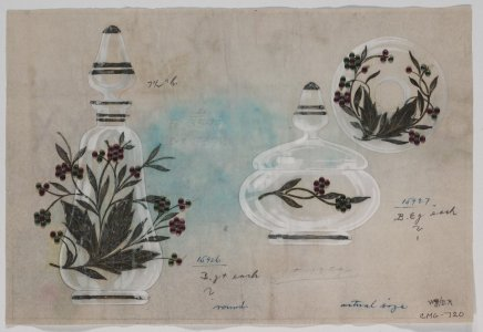 [Design drawing for decanter and cosmetic jar with jeweled embellishments] [art original].