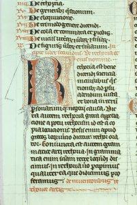 """""""Rare book manuscript vellum leaf, c. 1200."""" [slide]."""