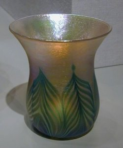 Favrile Vase with Feather Pattern