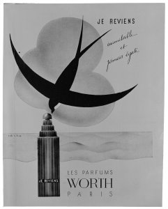 """Les parfums; advertisement by """"Worth"""" for """"Je Reviens"""" [transparency]"""