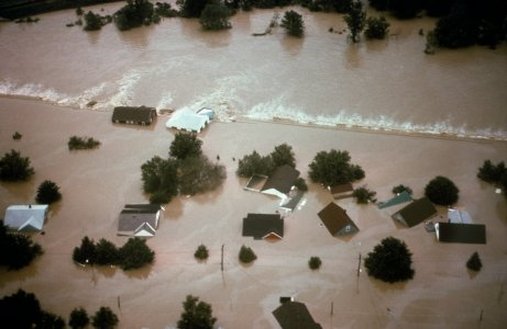 [Breached dike and flooded Houghton Plot, June 23, 1972] [slide].