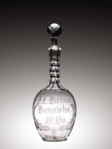 Cut and Engraved Decanter with Stopper