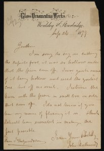 [Letter dated Sep. 26, 1879 from John Northwood to J. Wedgwood & Sons concerning the Portland Vase].