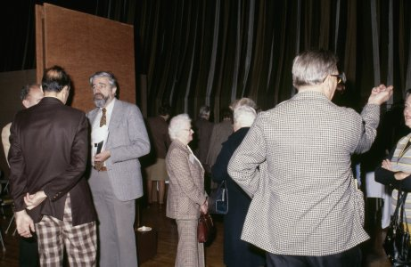CMG Seminar 1980 [slide]: [seminarians chat in the auditorium during a break].