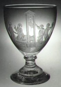 """Wineglass (or """"Rummer"""") Engraved with a Guillotine"""