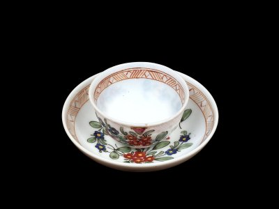 Teacup and Saucer with Enameled Floral Sprays