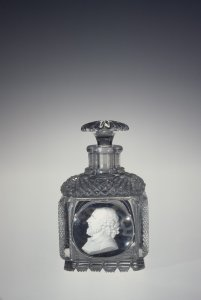 Perfume Bottle with Portrait of Shakespeare; Stopper