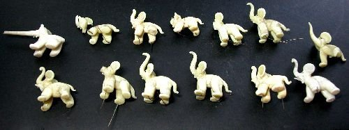 Flameworked Figures of 13 Elephants