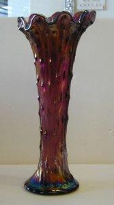 """Carnival Glass Vase in """"Amethyst Tree Trunk"""" Pattern"""
