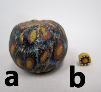 Millefiori Bead with Concentric Circles and Concentric Circle Cane Slice