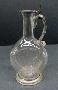 Wine Decanter with Pewter Mounts