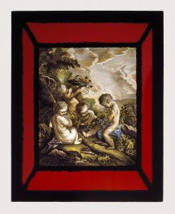 Panel Depicting Four Cherubs Gathering Fruit
