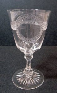 Engraved Wineglass with Band of Diamonds