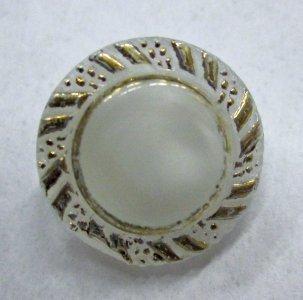 Pearlescent White Gilt Button