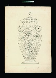 [Design for a covered baluster-shaped vase decorated with poppies.] [art original].