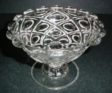 Diamond-thumbprint Compote or Footed Bowl