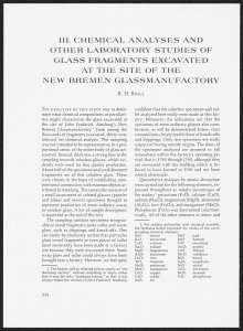 III. Chemical Analyses and Other Laboratory Studies of Glass Fragments Excavated at the Site of the New Bremen Glassmanufactory.