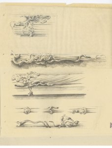[Design drawing for five decorative components for furniture pieces] [art original].