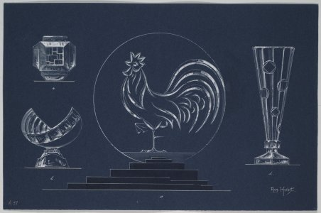 [Design drawing for vases and rooster plate] [art original].