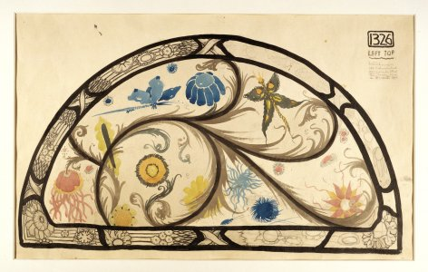 Coloured sketch for one of two lunettes above The Eve of St. Agnes window [art original].