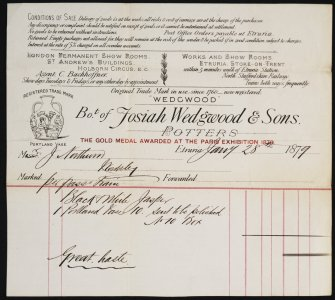 [Invoice dated Jany 28th, 1879 from Josiah Wedgwood & Sons to J. Northwood concerning the Portland Vase].