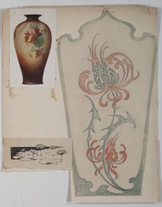 [Scrapbook page with design drawing for vase, illustration of lily pads, and print of vase with floral decoration] [art original].