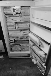 [Flood-damaged books were wrapped then frozen to prevent mold and bacteria growth, view 2] [picture].