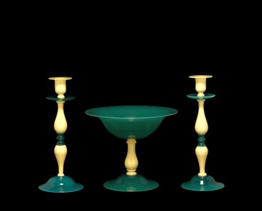 Compote and 2 Candlesticks