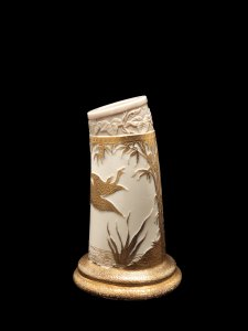 White Glass Ivory Tusk Vase