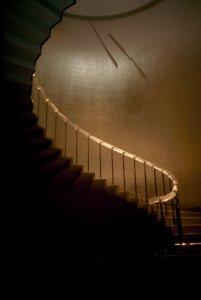 Glass handrail of spiral staircase [slide].