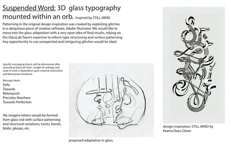 Suspended world [electronic resource]: 3D glass typography mounted within an orb.