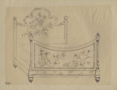 [Design drawing for bed frame] [art original].