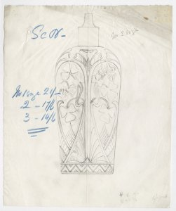 [Design drawing for scent bottle with clover or shamrock decoration] [art original].