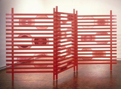 Red lattice screen [slide].