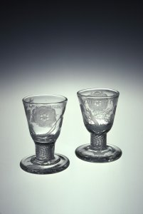 2 Jacobite Wine or Firing Glasses