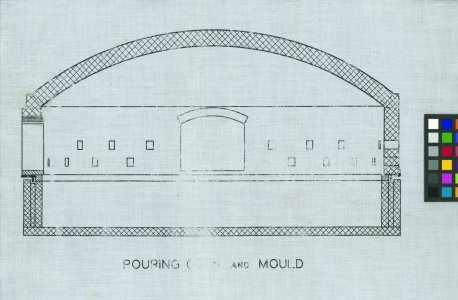 "[Design plan for pouring oven and mould for production of 200"" disk] [technical drawing]."