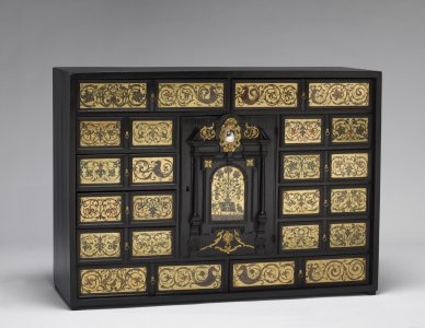 Cabinet with Reverse-Decorated Glass Panels