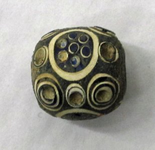 Antiquities Very Old Excavated Mosaic Eye Bead Glass Bronze Pendant #696 Antiques