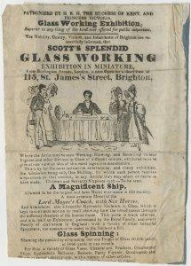 Scott's splendid glass working exhibition in miniature [handbill].