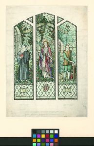[Ink and watercolor design for stained glass window with Jesus, John Wycliff, and John Bunyan] [art original].