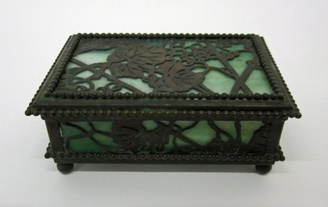 "Covered Box in ""Etched Metal & Glass (E.M. & G.)"" Pattern"